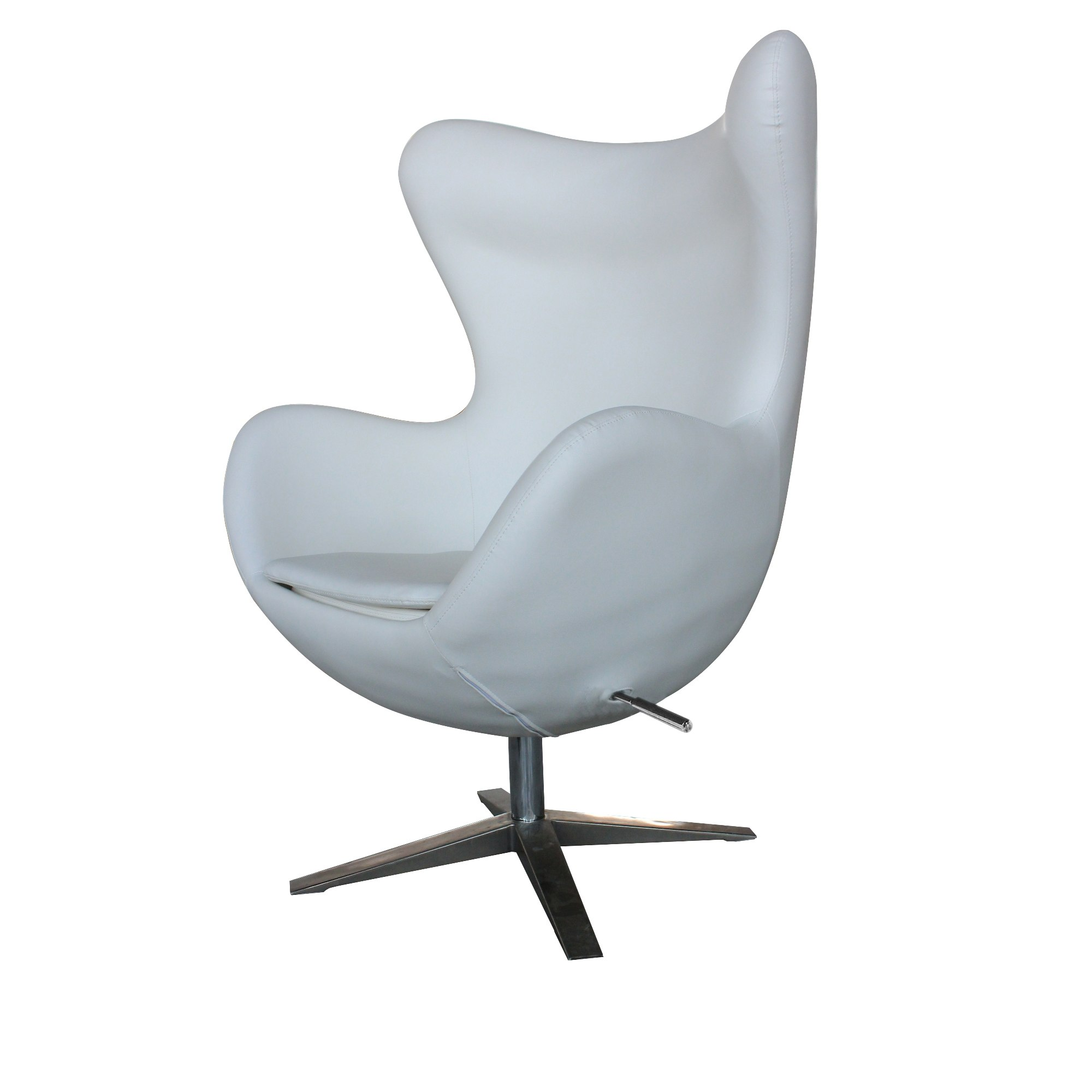 The Cool White Egg Chair In Faux Leather Goes Great With The Chrome Swivel  Base And